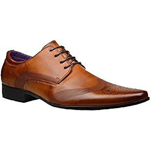 Customer reviews Robelli Men's Fashion Faux Leather Formal Shoes, 8 UK - Brown:Qukualian