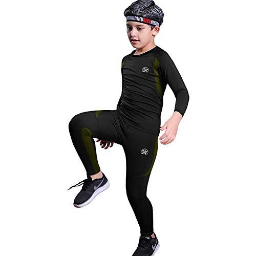MeetHoo Thermounterwäsche Kinder, Funktionswäsche Set Junge Skiunterwäsche Sport Fußball Sportunterwäsche Thermounterhemd Thermounterhose für Kinder (8-16 Jahre)