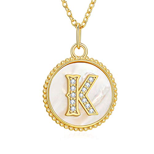 CLOT EVIL Initial Necklaces for Women Sterling Silver 14K Gold Plated Circle Pendant Iced Out Letter Necklace Cubic Zirconia Jewelry Birthday Gifts
