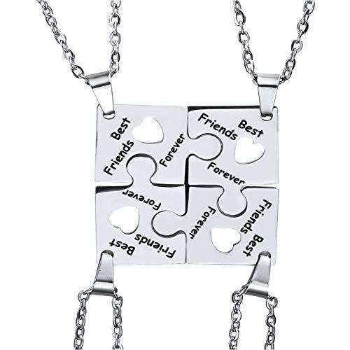 MiaLover Juego de 4 collares con colgante de rompecabezas para mejores amigos, de acero inoxidable, regalo para mujeres, adolescentes y niñas