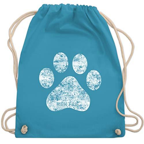 Shirtracer Hunde - High Five Hunde Pfote - Unisize - Hellblau - turnbeutel grün - WM110 - Turnbeutel und Stoffbeutel aus Baumwolle