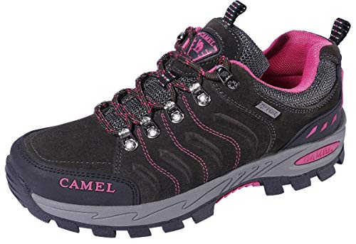 [CAMEL CROWN] キャメルクラウン女性用ハイキングシューズ通気性トレイルランニングバックパッキングウォーキングシューズスリップ耐性スニーカー軽量アスレチックトレッキングロートップブーツブラック7.5B(M)US
