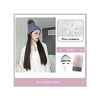 ナチュラル接続髪合成のBlack Hatカーリーヘアストレートヘアウィッグ弾性ニット帽子ウィッグ耐熱女性、44,22Inches