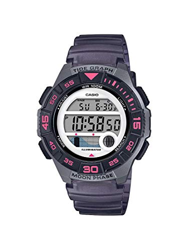 Casio Reloj casual de cuarzo con batería de 10 años, correa de resina, negro, 19.9 (modelo: LWS-1100H-8AVCF)
