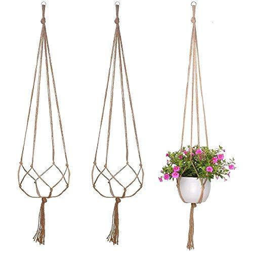 Yakamoz 3PCS Plante Cintre Jute Pot de Fleurs Hanger Plante Corde Cintres Suspension Plante 120cm Corde pour Plante pour Interieur Extérieur avec 4 Jambes