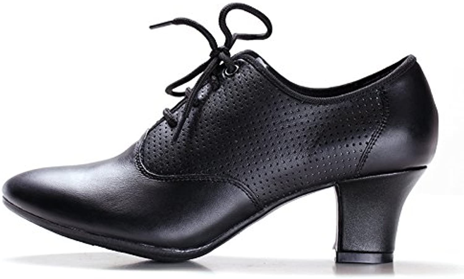 Ruiyue Ballroom Latin Dance shoes, Genuine Leather Lace-up Teachers Professional Dancing shoes Square Heel for Women