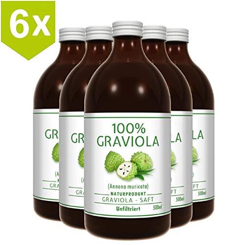 6 x 100% SOURSOP SAP (6 x 500ml) ongefilterd & veganistisch - Graviola/ Corossol/ Guanabana/ Zuurzakken