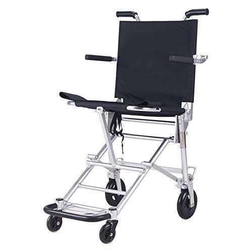 XHRHao Silla De Ruedas Ligero Y Plegable Pedal Hueco Silla De Ruedas con Mochila Empacada Aleación De Aluminio (Color : Negro)