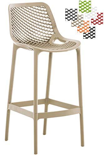 Taburete Air Fabricado en Plástico I Taburete de Exterior y/o Interior I Silla Alta de Terraza con Resplado & Reposapiés I Color:, Color:Barro