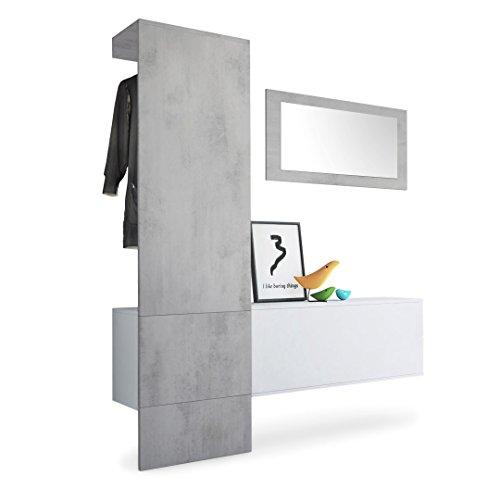 Vladon Garderobe Wandgarderobe Carlton Set 4, Korpus in Weiß matt/Paneel und Spiegel in Beton Oxid Optik