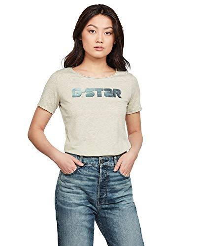 G-STAR RAW Graphic Mysid Slim Short Sleeve Camicia, Grey Vintage Htr/Lime Neon C342/B630, Large Womens