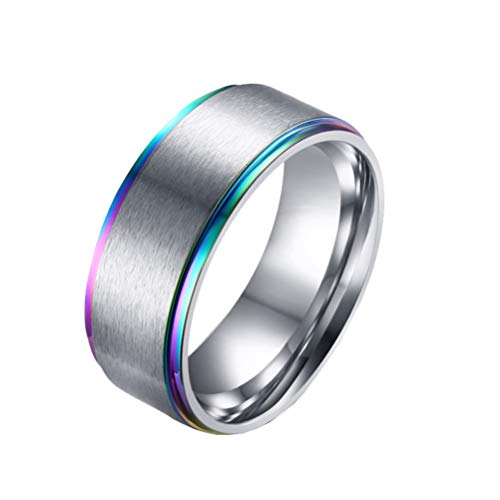 OAKKY 8mm Arco Iris LGBT Orgullo Rotativo Suerte Anillo Acero Inoxidable para Lesbianas & Gay Amor Verdadero Boda Banda Plata Tamaño 25