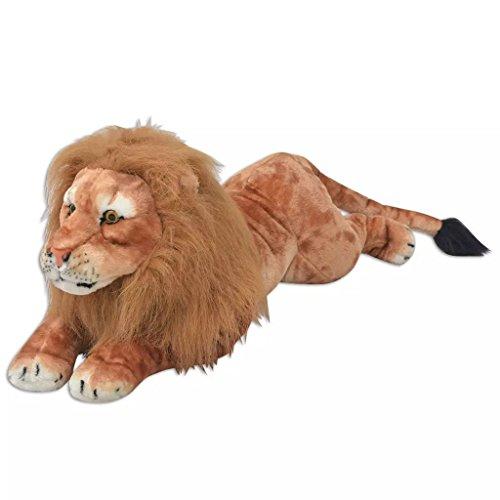 vidaXL León de Peluche Gigante Marrón XXL Animal de Peluche Juguete Decoración