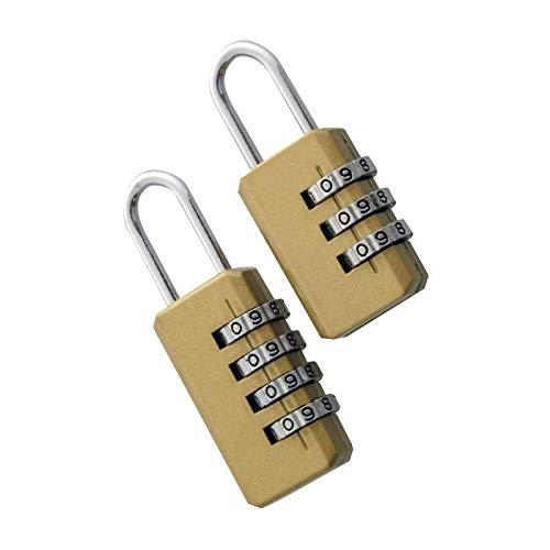 Paquete de 2 candados de combinación – 4 y 3 dígitos – Candado de seguridad dorado, candado de equipaje para escuela, mochilas, casillero, garaje, puertas, maleta,