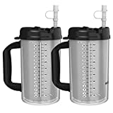 (2) 32 oz Hospital Mugs with Black Lids - Insulated Cold Drink Travel Mugs