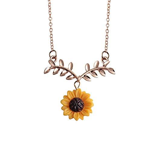 Colar Feminino de Girassol Corrente Cordão Pingente Girassol Moda Sunflower