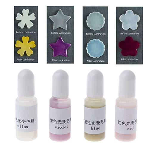 Weiqu Líquido fotocromático activado por el sol, pigmento de resina epoxi que cambia de color, colorante de resina, pigmento UV con cambio de color para hacer joyas, para hacer joyas de bricolaje