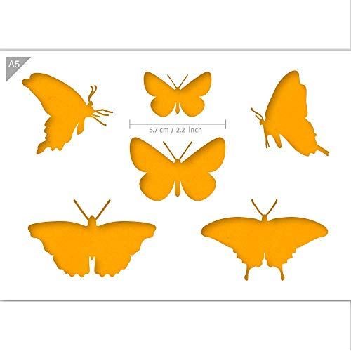 Qbix Butterflies Stencil - A5 Size - Reusable Kids Friendly DIY Stencil for Painting, Baking, Crafts, Wall, Furniture