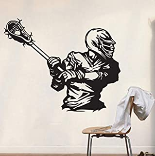 Ansyny ラクロスデカール家の装飾壁用ステッカーウォールステッカーギフトスティックラクロスプリントパーティーアートゲームルーム壁画42 * 53センチ