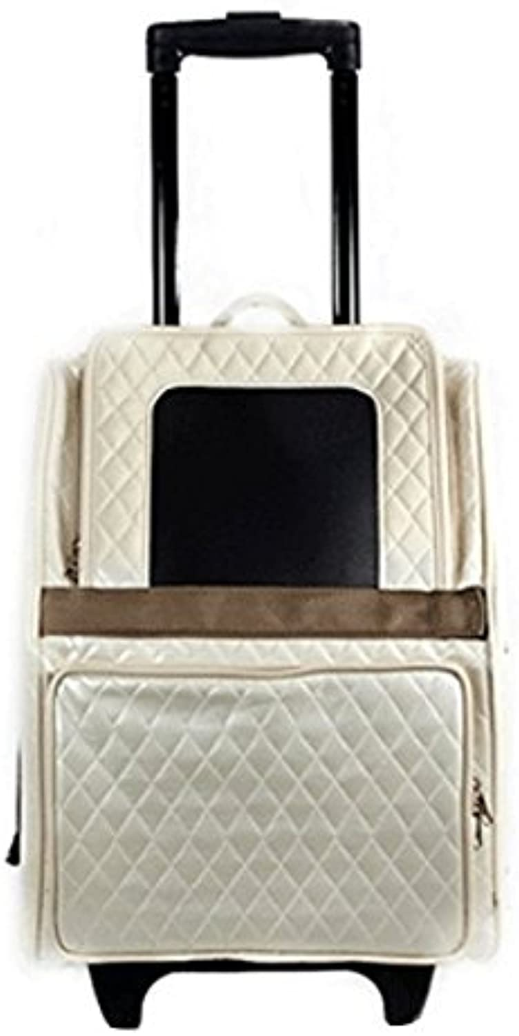 Petote Rio Bag on Wheels Pet Carrier, Ivory Quilted
