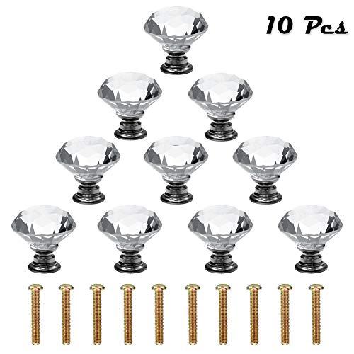 ShipeeKin 10 Stück 30mm Schrankknöpfe Kristall Zinklegierung Kristallglas Schubladenknöpfe Garderobe Ziehgriffe Möbelgriff Transparent Silber