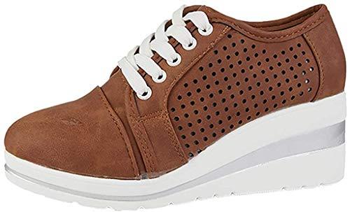 Fannyfuny Zapatos para Correr Mujer Zapatillas de Deportivo Sneakers Ligeros Zapatos Casuales de Deporte Low Top Calzado Transpirables Fitness Comodos Zapatillas de Cuña (37, marrón)