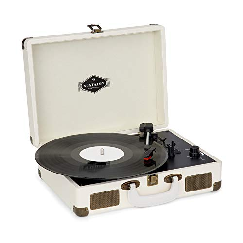 auna Peggy Sue Schallplattenspieler - Plattenspieler, Koffer-Design, Riemenantrieb, 33, 45 und 78 U/min, 2 integrierte Stereolautsprecher, USB, Lautstärkeregler, transportabel, Creme-Messing