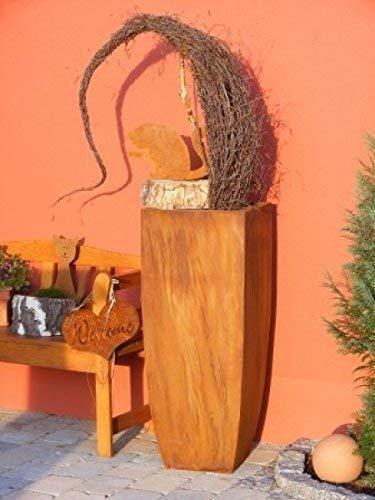 Rostikal | Metall Blumensäule | Pflanzsäule aus Edelrost | 1 Meter hoch