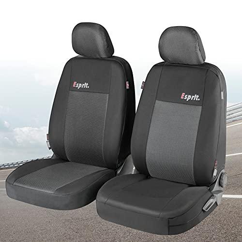 Walser Auto Sitzbezug Esprit mit Reißverschluss, Zipp-IT Schonbezüge für Normalsitze, 2 Vordersitzbezüge schwarz/grau 11848