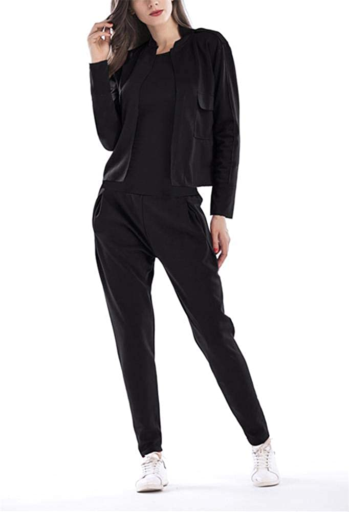 Women's 2 Pieces Outfits Long Sleeve Blazers Jackets Long Harem Pants Suits Set