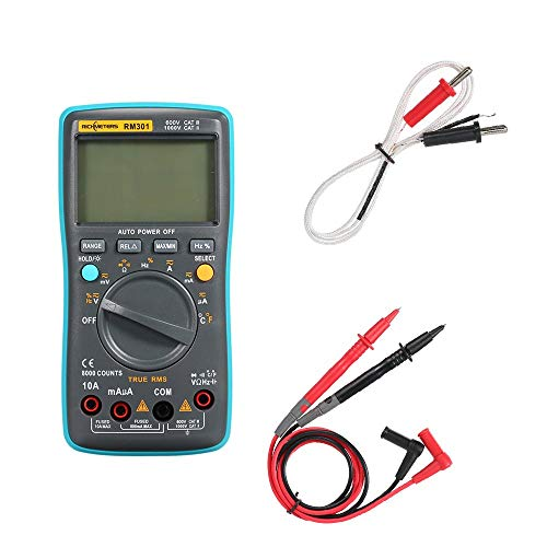 HH-HL Intelligent Temperature Tester - Rm301 Digital Multimeter 8000 Counts Portable Battery Drives True-Rms Back Light Ac Dc Voltage Multifunction Ammeter Current Ohm Auto/Manual Temp Digital Display