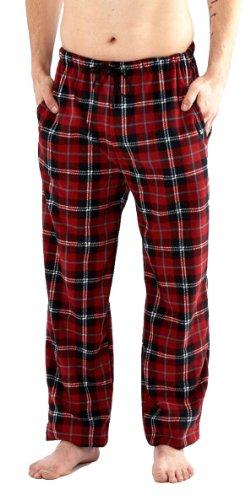 i-Smalls Herren Klassischer Karierter Polar Unterteil Pyjama Fleece Flausch Hausanzughose Schlafanzughose Nachtanzug (Rot) L