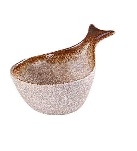 Plato de comida y fruta tazón de fuente de cerámica creativa ensalada plato de postre, vajilla retro (color : cuenco de ballena A, tamaño: mediano)