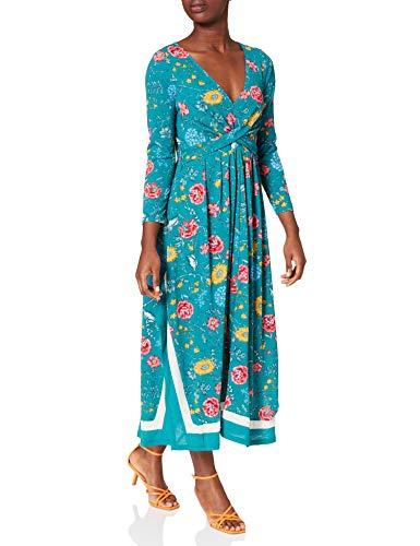 Springfield Vestido Midi Picos Cenefa, Verde, M para Mujer