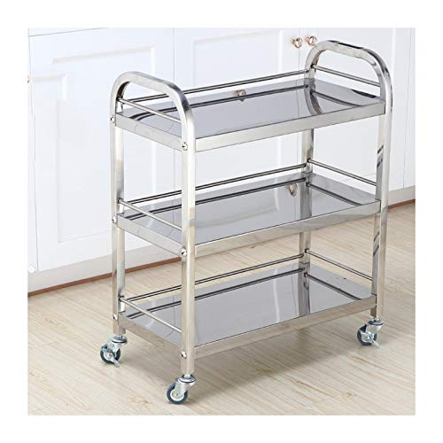 LSJGG 3 Tier Gold Mirror Shelves Vintage Style Metal Kitchen Serving Trolley With Drinks Wine Rack Side End Table (Color : Silver)