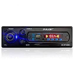 Dulcet DC-ST-9090 Double IC High Power Universal Fit Mp3 Car Stereo with Bluetooth/USB/FM/AUX/MMC/Remote & Built-in Equalizer with Bass & Treble Control[Also, Includes a Free 3.5mm Premium Aux Cable],Dulcet,DC-ST-9090