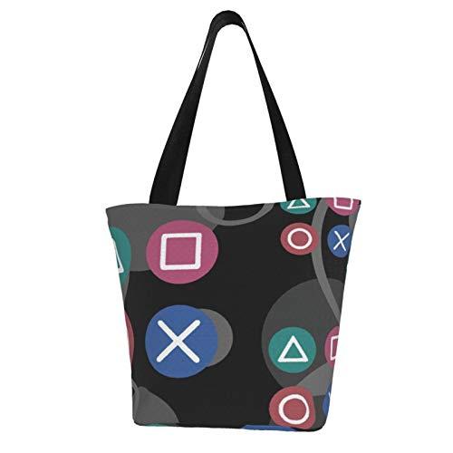 PlayStation Einkaufstasche, Vintage-Stil, Ripstop-Stoff, leicht, stabil, maschinenwaschbar, Polyester
