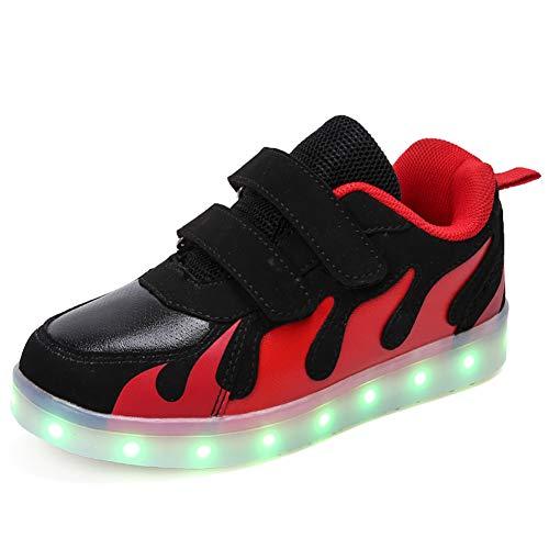 Ansel-UK LED Zapatos Verano Ligero Transpirable Alta 7 Colores USB Carga Luminosas Flash Deporte de Zapatillas con Luces Los Mejores Regalos para Niñas Niños Cumpleaños Navidad Reyes Mango
