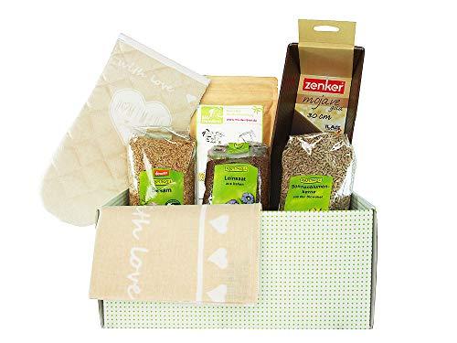 Oster-Geschenkbox zum Brot Backen, bio Brot-Backset-Geschenk für Ostern mit Bio-Brotbackmischung Dinkelbrot, Leinsamen, Sonnenblumenkernen, Sesam, Küchentuch, Ofenhandschuh, Kastenform