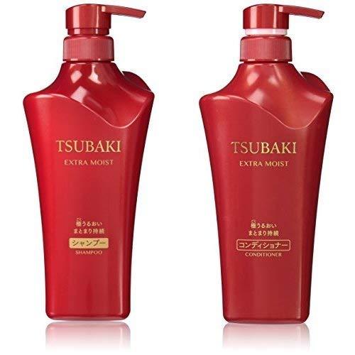 Tsubaki Extra Moist Shampoo und Spülung Jumbo-Größe Pumpe Einstellen, Je 500 ml, Japan Import
