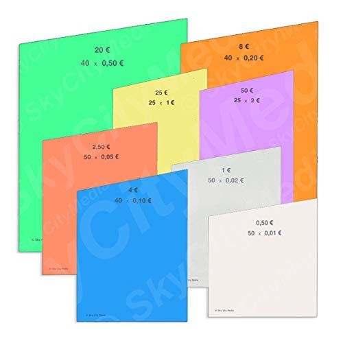 Münzrollpapier Set für Euro Münzen je 20x (0,01 € / 0,02 € / 0,05 € / 0,10 € / 0,20 € / 0,50 € / 1,00 € / 2,00 € Papier) für Geldrollen/Rollgeld Münzrollenpapier/Handrollpapier 1 Cent bis 2 Euro/NEU