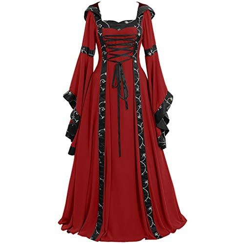 Clearance Renaissance Dress,Forthery Womens Medieval Costume Dress Lace up Irish Over Long Dresses Cosplay Retro Gown(Red,M)