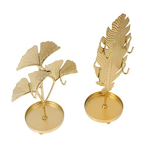 Cabilock Expositor de joyas decorativo Ginkgo para joyas, joyas, torre, collar, pulsera, plato, 2 unidades, dorado