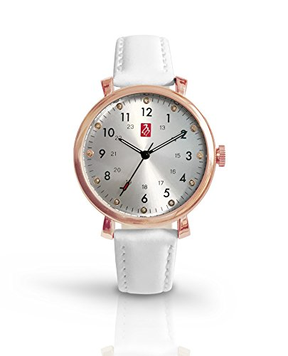 Prestige Medical Melrose Premium Watch, Rose Gold With White Band