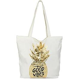 styleBREAKER Cabas, Sac de Courses avec Ananas doré et imprimé 'Good Vibes', Fermeture à glissière, Sac de Plage, Sac en…
