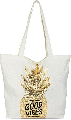 styleBREAKER Shopper Einkaufstasche mit Gold Ananas und 'Good Vibes' Print, Reißverschluss, Strandtasche, Stofftasche, Tasche, Damen 02012222, Farbe:Weiß/Gold