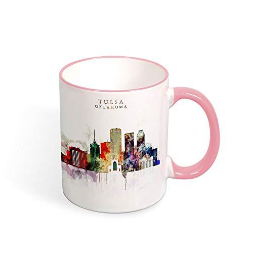"""Tulsa Oklahoma City - Taza de café con texto en inglés""""New Home Tea"""", taza de viaje, recuerdo, cumpleaños, Navidad, aniversario, regalo, taza para viajero, 325 ml rosa"""
