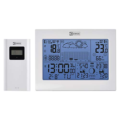 EMOS E8835 drahtlose Wetterstation mit Funkuhr, Innen-und Außentemperaturanzeige, Thermometer, Hygrometer, Barometer, Wecker, Kalender, Datumanzeige