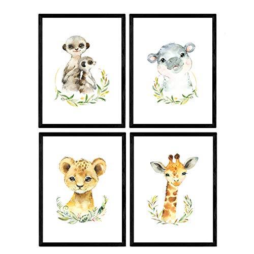 Pack de cuatro láminas con ilustraciones de animales. Posters con imágenes infantiles de animales. Jirafa hipopótamo suricatos y león. Tamaño A3 sin marco…