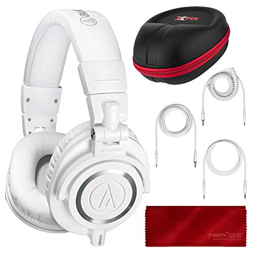 Audio Technica ATH-M50X Monitor Headphones (White) Professional Kit, with Carrying Case, Fibertique Cleaning Cloth and 3 Cables – For DJs, Studio Recording and Listening